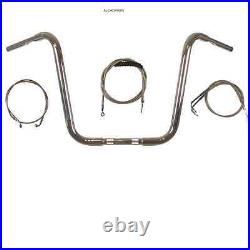 APE HANGER KIT 18 CHROME With CABLES HARLEY 96-UP SOFTAIL DYNA FATBOY WIDE GLIDE
