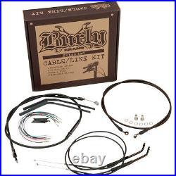 Burly 16 Handlebar Black Brake Line Cable Kit for 2000-2006 Harley FXST Softail