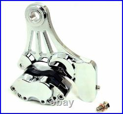 DNA 4 Four Piston Chrome Rear Brake Caliper Bracket Mount Kit Evo Harley Softail