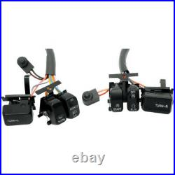 Drag Black Button Switch Cap Handlebar Control Kit Harley Touring Softail 96-13