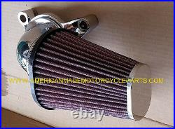 Fits Harley Softail Lance Chrome Red Cone Air Cleaner Filter Kit, USA Kn